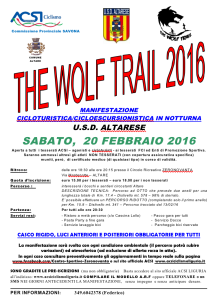 The Wolf Trail 2016 – Altare (SV)